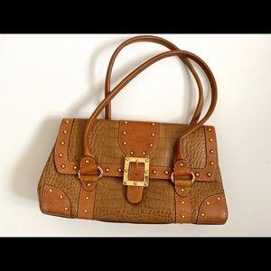 MICHAEL KORS Vintage Croc  BROWN Leather Bag Purse